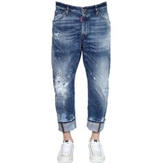 Dsquared2 Men 20cm Workwear Destroyed Denim Jeans (785 CAD) ❤ liked on Polyvore featuring men's fashion, men's clothing, men's jeans and blue
