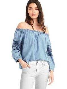 ff8227baea02 nwt gap off shoulder embroidered blouse Shirt top blue large L jean 1969