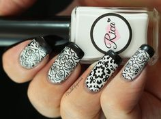 """Pinned from NailsofAquarius.com: """"Black and White Peek-A-Boo"""" Stamped Nail Art Design"""
