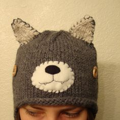 Kitty hand knit hat
