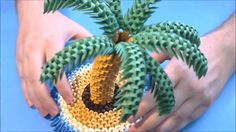 How to make 3d origami Palm tree part2