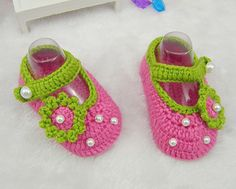 Bright Pink Handmade Crocheted Flower Baby Girls Shoes Infant Shoes, Newborn Baby Crib as Baby Shower Gifts via Etsy
