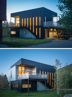 Decks and window openings are carved out of the box form of this home, to capture daylight and to connect the upper living spaces to views of the surrounding ski fields.