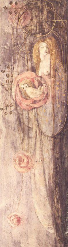 Frances MacDonald (1873-1921, Scottish), 1896, Sleeping Princess (Princesse endormie), Watercolour. #Scottish #artist #Glasgow #Style