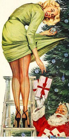 Vintage Christmas Pin-up Girl Old Christmas, Vintage Christmas Cards, Retro Christmas, Christmas Images, Vintage Holiday, Vintage Cards, Christmas Offers, Naughty Christmas, Hygge Christmas