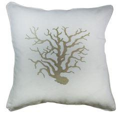 almofada bordada coral caqui linho - Kasa 57