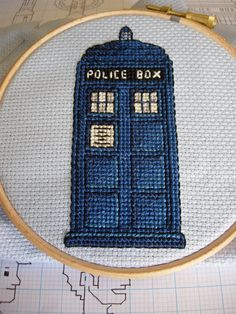 Cross Stitch Tardis  •  Free tutorial with pictures on how to cross stitch art in 10 steps