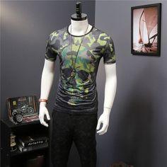 Camouflage Men T Shirt Skull Printed T Shirt O Neck Men T Shirt Summer Black Male Thin Top Tees
