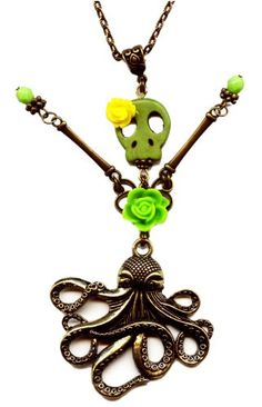 Large 5 Inch Skeleton Skull Doll Octopus Skirt Pendant Lime Green Handmade Necklace with Flowers Moon Pixie