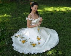 Silk hand painted wedding gown dress VICTORIAN ROSES. $350.00, via Etsy.