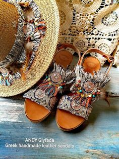 Handmade Greek Leather Sandals with Gold Plated Coins -Turquoise and Lava Semi Precious Stones