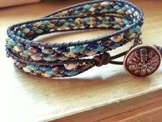 Handmade Adjustable Antiqued Brown Double Leather Wrap Bracelet with Cobblestone Glass Czech Super Duo Picasso Mix with Copper Button - sold Super Duo, Jewelry Ideas, Unique Jewelry, Wrap Bracelets, Picasso, Loom, My Etsy Shop, Copper, Button
