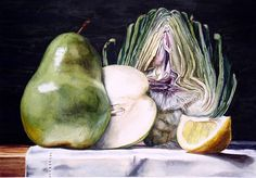 Get a Stellar Watercolor Painting Every Time With These Tips - Fruit and Artichoke Half by Laurin McCracken,