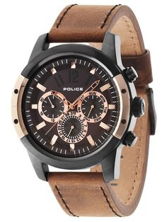 Police Men's Quartz Watch with Brown Dial Chronograph Display and Brown Leather Strap Gents Watches, Cool Watches, Watches For Men, Hermes, Daniel Wellington, Police Jewelry, Police Watches, Tommy Hilfiger, Michael Kors