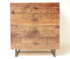 Rustic-modern: Reclaimed wood dresser made from architectural salvage.