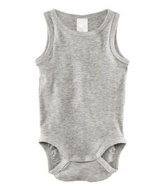 Sleeveless bodysuit in rib-knit jersey with press-studs at the crotch.  Available sizes: 4M-24M.  95% organic cotton, 5% viscose.  NRs 800.