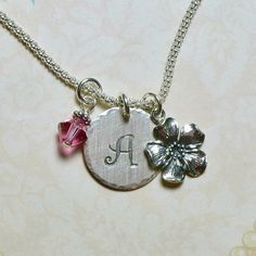 Cherry Blossom Hand Stamped Sterling Silver Initial Charm Necklace by Dolphinmooncreations #cherryblossom #etsyjewelry