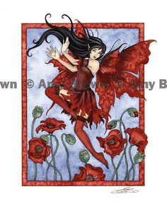 August Red Poppy 8.5x11 FAIRY PRINT by Amy Brown. $14.00, via Etsy.