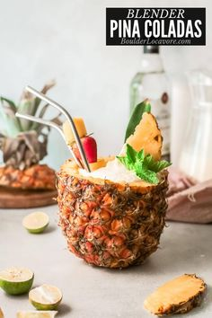 It's never been easier to whip up your favorite tropical cocktail! Classic Pina Coladas are made in the blender for fast batch cocktails. Make them regular, slushie or frozen! Instructions for each included. Frozen Pina Colada, Virgin Pina Colada, Perfect Pina Colada Recipe, Pina Colada Cocktail Recipe, Roasted Pineapple, Ripe Pineapple, Fun Cocktails, Summer Drinks