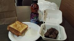 Grilled cheese with Ranch and Nestea along with a brownie for lunch