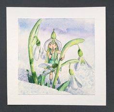 Snowdrop Fairy watercolor ORIGINAL art work Snowdrops by ImbirArt