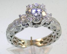 Victoria Wieck Women Engagement Jewelry Three-stone Topaz simulated diamond White Gold Filled Wedding Band Ring from Simply Fashion. Wedding Rings Vintage, Wedding Rings For Women, Diamond Wedding Rings, Vintage Engagement Rings, Wedding Ring Bands, Diamond Engagement Rings, Diamond Rings, Engagement Jewelry, Wedding Engagement