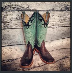 Anderson Bean Nicotine Smooth Ostrich and Turquoise Croc top cowboy boots from Mule Barn.