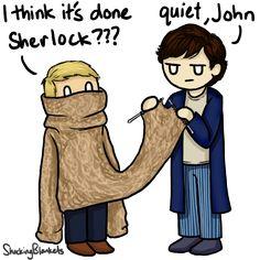 John: I think it's done Sherlock.It's for an experiment. Sherlock Fandom, Sherlock John, Sherlock Holmes, Funny Sherlock, Sherlolly, 221b Baker Street, Comic, John Watson, Johnlock