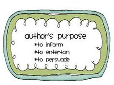 5th Grade Author's Purpose Activity - Stations ideas