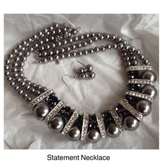"""Host Pick! Pewter Silver Pearl CZ Crystal Necklace Beautiful faux black pearl silver shimmer Crystal rhinestone cubic zirconia big bod statement necklace with matching earrings with rondeles. adjustable necklace 16"""" to 24"""" long new without tags Jewelry"""