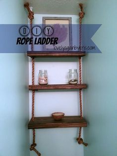 DIY Nautical Rope Ladder and Partial Guest Bath Reveal - DIY Ladder Decorations