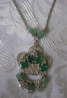 """61.45 CT. (GEMS+SETTING) Natural Emerald WGP/Sterling 925 Silver Necklace 20.75"""" #Handmade"""