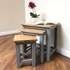 CoHebe® Set of 3 Nest of Tables with Solid Oak Top With Contrasting Grey Legs by CohebeFurniture on Etsy https://www.etsy.com/uk/listing/492749421/cohebe-set-of-3-nest-of-tables-with