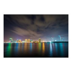 Noir Gallery Norfolk Virginia Skyline at Night Canvas Wall Art, Multi