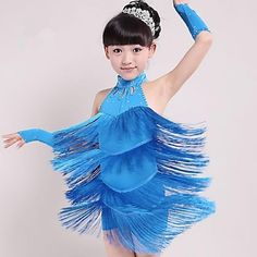 e31b793d5 Latin Dance Outfits Performance Spandex Tassel Sleeveless Natural Dress