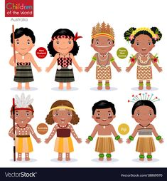 Kids in different traditional costumes. New Zealand, Papua New Guinea, Australia, Fiji. Happy Cartoon, Cartoon Kids, Drawing For Kids, Art For Kids, Papua Nova Guiné, Costumes Around The World, World Thinking Day, Kids Around The World, Super Hero Costumes