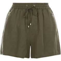 New Look Khaki Zip Pocket Runner Shorts ($16) ❤ liked on Polyvore featuring shorts, khaki, relaxed fit shorts, relaxed shorts, mini shorts, zip pocket shorts and zipper pocket shorts