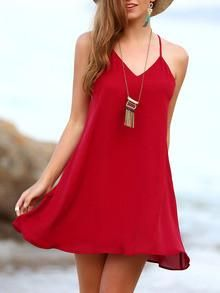 Red Backless Spaghetti Strap Beach Dress