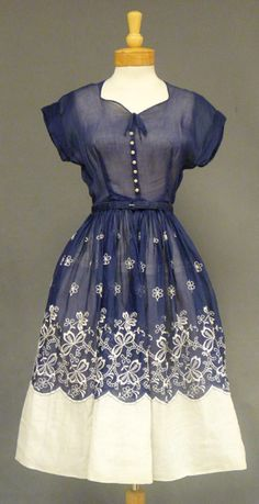 Beautiful Navy & White Organdy 1950\'s Dress VINTAGEOUS VINTAGE CLOTHING