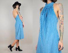 blue chenille minimalist dress // noirohio vintage