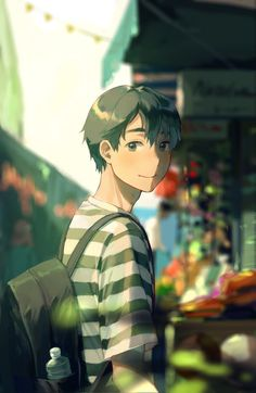 Not my art! Cute Anime Guys, Anime Boys, Anime Art Girl, Anime Boy Smile, Chica Anime Manga, Kawaii Anime, Anime Comics, Anime Boy Zeichnung, Anime Scenery Wallpaper