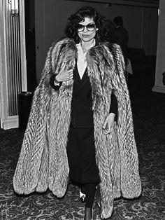 Bianca Jagger - massive fur coat
