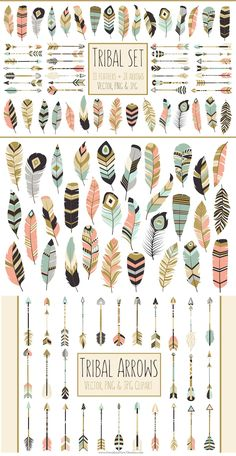59 Arrows & Feathers Tribal Clipart > This listing is for a set of 59…