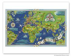 Air France, World Flight Routes Map - Giclée Art Prints & Posters