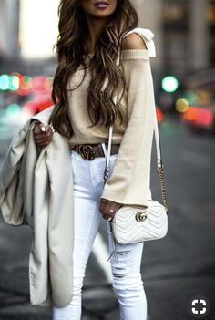 26 JAN, 2018 This Affordable Coat Will Instantly Elevate Your Winter Look - Outfit Details: Waterfall Coat Tie Shoulder Sweater White Distressed Denim Gucci Marmont Matelassé Mini Bag Christian Louboutin Nude Pumps Gold Aviator Sunglasses Gucci Belt Fall Outfits, Cute Outfits, Casual Outfits, Fashion Outfits, Girly Outfits, Beautiful Outfits, Womens Fashion Online, Latest Fashion For Women, Chloe Bag