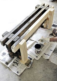 puutarhapenkki Diy Nursery Furniture, Diy Outdoor Furniture, Diy Furniture Projects, Woodworking Furniture, Diy Wood Projects, Garden Furniture, Outdoor Decor, Backyard Projects, Outdoor Projects