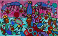 Canadian Aboriginal Art: Norval (called Copper Thunderbird) Morrisseau, Artist and Shaman between Two Worlds 1980, acrylic on canvas, 175 x 282 cm, #41869, Copyright Norval Morrisseau / Gabe Vadas. Courtesy of Kinsman Robinson Galleries, Toronto.
