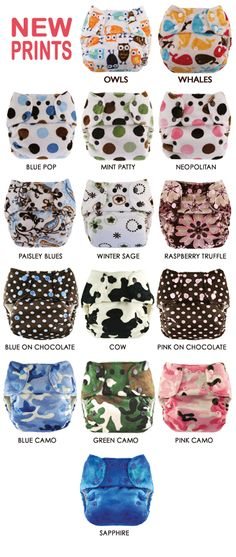 Minky One Size Cloth Diapers - Blueberry Cloth Diapers      Owl Pattern!  $27.95