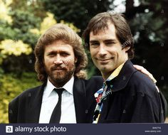 Timothy Dalton actor with singer Barry Gibb July 1988/eo
