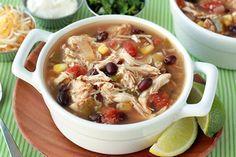 Tex-Mex Chicken Stew Recipe | Hungry Girl Changes to recipe: -added frozen spinach -extra cumin and chili powder & salt in the whole soup at end -next time include carrots